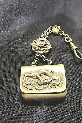 Unusual, Antique, Sterling? Small Pouch With Chain, Dragons.