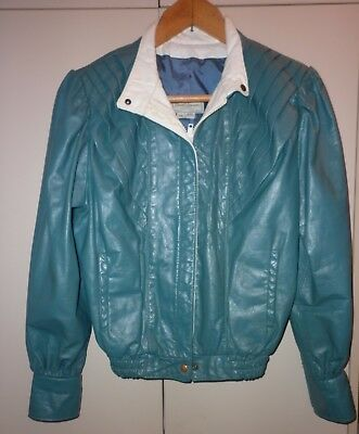 FANTASTIC 80s DAVID LAURENZ TEAL LEATHER JACKET SIZE SMALL EXCELLENT CONDITION