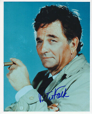 PETER FALK signed by 8x10 photo  photograph autographed COLUMBO  smoking cigar