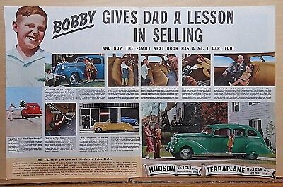 1937 double page magazine ad for Hudson - Terraplane, Bobby gives Daddy a lesson