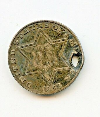 1858 THREE CENT SILVER ~VERY FINE DETAILS, HOLED~  *hucky*