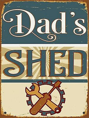 Dads Shed, Retro metal Aluminium Sign vintage Gift, Shed, Man Cave