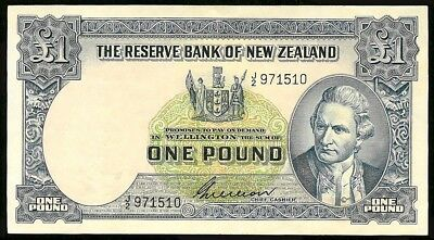 Nd (1955-1956) New Zealand 1 Pound Captain James Cook Bank Note Kp # 159 Au/cu