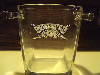 Chivas Regal Aged 12 Years Square Chrystal Ice Bucket With Two Handles And Tongs