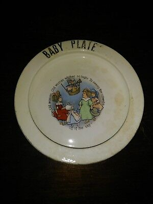 the wellsville china co. OH vintage baby plate