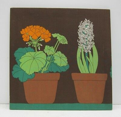 Fin Helen E. Helenius Oy Finnish Mod Flower Pots Stretched Fabric Panel 60s 70s