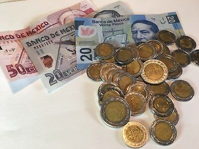 134 Mexican Pesos! Useable Currency And Coins! Travel Money!
