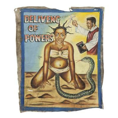 Original African Mr Brew Movie Poster Painting Flour Sack Ghana West Africa