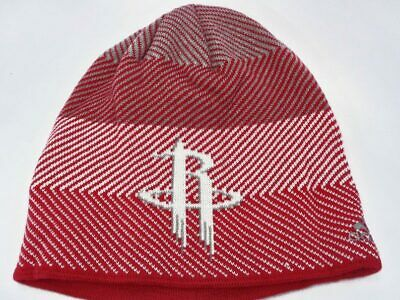 info for 10162 c7692 Houston Rockets NBA Adidas Red White Grey Stripes Knit Hat Cap Toque Beanie  OSFA