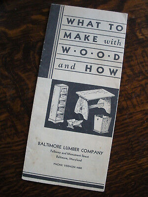 Vintage Baltimore Lumber Co. Brochure 1930's? Build It Yourself Project Plans