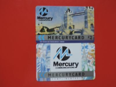 2 Collectable  Mercury Uk Phone Cards Used.  Lot 13