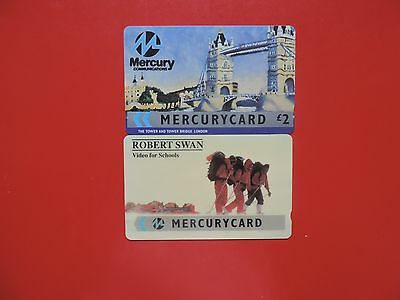 2 Collectable  Mercury Uk Phone Cards Used.  Lot 3
