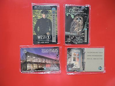 4 Collectable  Mercury Uk Phone Cards New & Sealed.