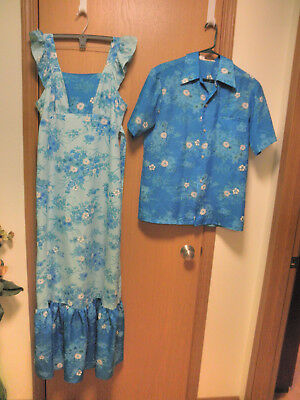 1960s Vtg HIS & HERS HOLO HOLO Hawaiian DRESS & SHIRT SET TEAL WITH FLOWERS