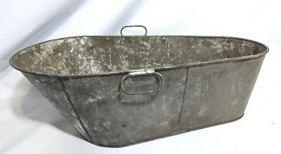 Antique Galvanized Steel/Tin Metal Baby Farm House Cowboy Style Bathtub Bath Tub
