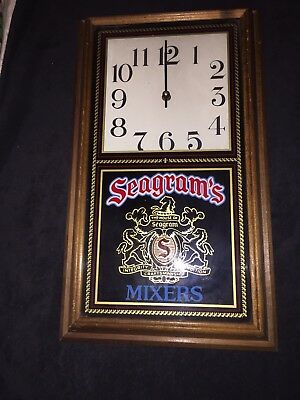 Vintage Seagram's Mixers Wood Wall Clock USED