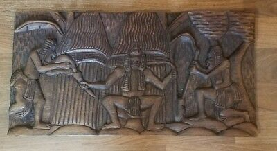 Vtg African Ethnic Wood Wall Art Carving Sculpture Large 21.5 x 11