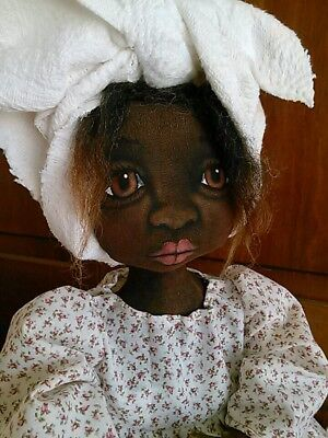 Primitive  Black Folk Art Cloth Doll OOAK 18 Inches ~ Hand Painted~