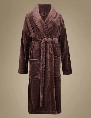 Marks & Spencer Ladies Shimmer Dressing Gown Soft M&S Fleece Bath Robe Chocolate
