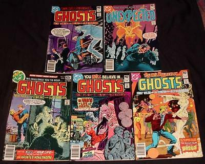 5 DC Horror Comics 1978-80 F- to VF+ Ghosts 70 87 90 91 The Unexpected 198