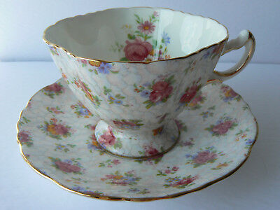 Hammersley Gilt Floral Chintz Teacup Tea Cup and Saucer Excellent!