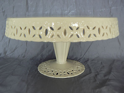 Godinger Regal Cream Footed Pedestal Cake Stand Plate - Ribbonable! Retired 2011