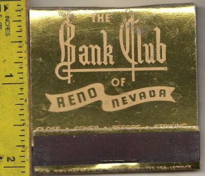 vintage book of feature matches The Bank Club Casino Reno, Nevada