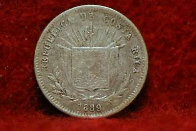 Costa Rica, 1889-Heaton 5 Centavos, silver, Extremely Fine, NR,              6eb