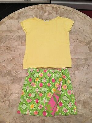 Lilly Pulitzer Top T-shirt Skirt reversible! Lemon Flowers 10 8 😍👌green pink