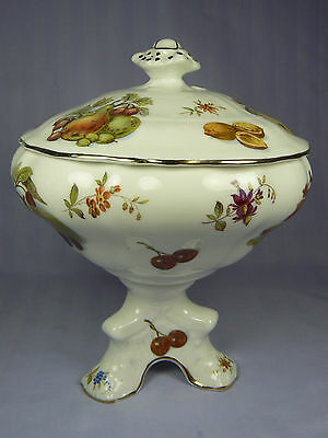 Vtg HAMMERSLEY NUTS FRUITS & FLOWERS Pedestal CANDY DISH with Lid China England