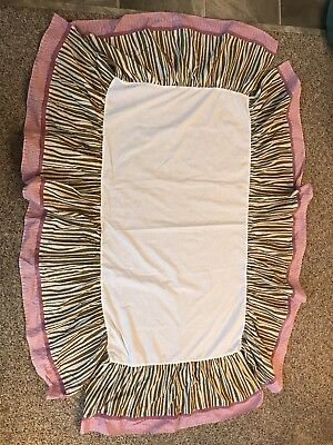 CoCalo Baby Girl Crib Skirt Bedding Pink Purple Brown Zebra Jungle Dust Ruffle