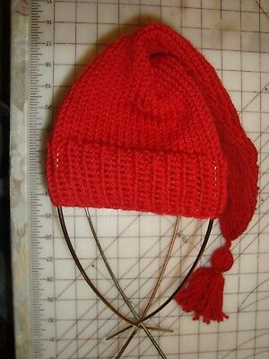 Hand knit cardinal red wool knit hat with tassle