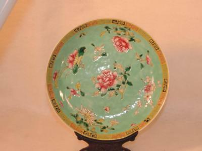 Antique Chinese ENAMEL Famille Rose Straits BLUE Floral 19th Century Plate STAND