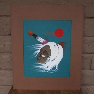 """RARE LARRY HOOD ORIGINAL SIGNED PAINTING: """"OLD COMANCHE MAN"""", Brother of Rance"""