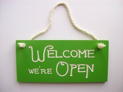 Open Closed Sign Rustic Engraved Wood