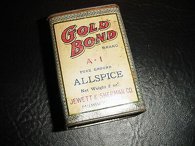 "VINTAGE 1930's ""GOLD BOND"" ALLSPICE Container ""Tin"" - Jewett & Sherman Co."
