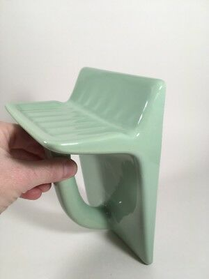 Vintage Wall Mount Soap Dish w/ Towel Grab Bar Jade Green Ceramic Art Deco RARE