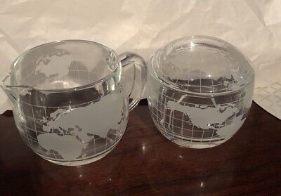The Nestle Company World Map Sugar Bowl and Creamer