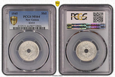 New Guinea 1945 Silver 1 Shilling 1/- PCGS Graded Slabbed MS64 Choice UNC #0866