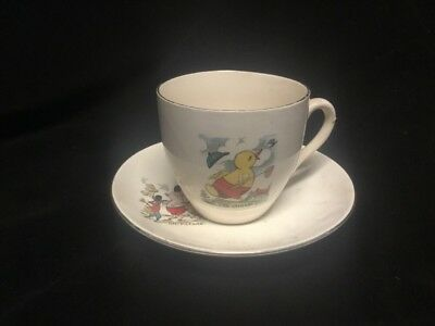 Children's Cup & Saucer On Parade The Chase Duck Pig Rabbit C&E England