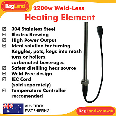 2200 Watt Weld-Less Heating Element Electric Brewery Stainless Power Distilling