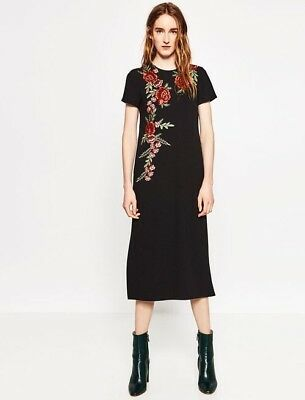 Nwt Zara Embroidered Black Dress Floral Embroidery Midi Size S