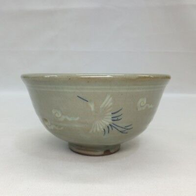 F704: Korean blue porcelain tea bowl of Goryeo inlaid celadon porcelain style