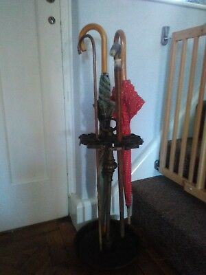 Original French Cast Iron & Brass Umbrella/walking Stick Stand From Normandy