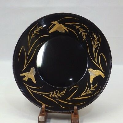 F987: Classy Japanese lacquerware tea-thing plate KASHIKI with fantastic MAKIE