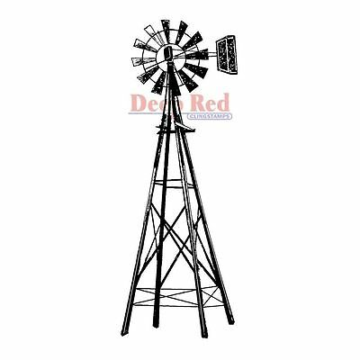 Deep Red - Farmers Windmill - Cling Mounted Rubber Stamp