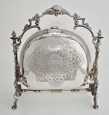 Ornate Antique Philip Ashberry & Son Silver Plate Folding Biscuit Box Satchel