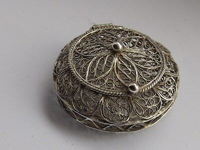 Solid Silver 925 Filigree Pill Box Fine Detailed Wirework