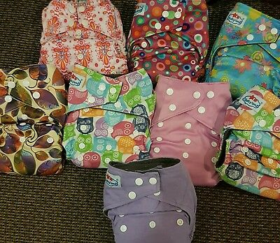 Bulk Lot Modern Cloth Nappies Diapers Nappy OSFM with boosters for baby