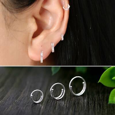 Pair 925 Sterling Silver Solid Hoop Ring Sleeper Earrings Lip Ear Body Piercing